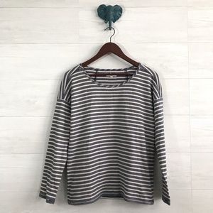 Madewell Navy Cream Oversized Striped Chart Top